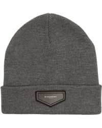 Givenchy - Logo-patch Wool-blend Beanie Hat - Lyst