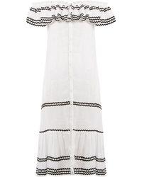 Lisa Marie Fernandez - Mira Ruffle Trimmed Button Through Linen Dress - Lyst