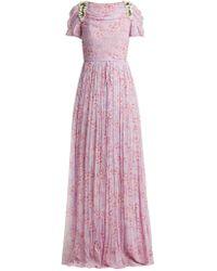 Carolina Herrera - Wildflower-print Silk-chiffon Gown - Lyst