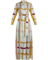 Diane von Furstenberg - Tie-waist Silk-twill Maxi Shirtdress - Lyst