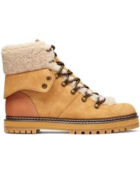 8a70bee8fcdc See By Chloé - Eileen Shearling Trimmed Suede Ankle Boots - Lyst
