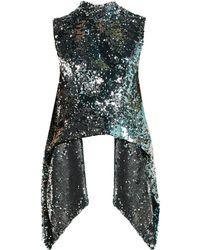 Halpern - Metallic Sequin Covered Open Back Top - Lyst