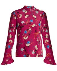 Erdem - Lindsay Floral-print Silk Blouse - Lyst