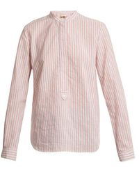 Vanessa Bruno - Mandarin Collar Striped Cotton Shirt - Lyst