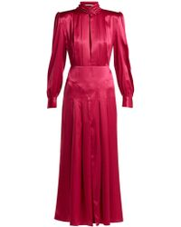 Alessandra Rich - Pleated Panelled Silk-satin Dress - Lyst