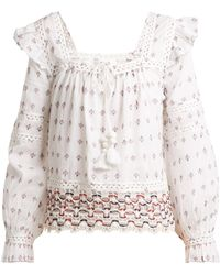 Sea | Colette Lace-trimmed Embroidered Cotton Top | Lyst