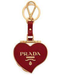 Prada - Heart Pill Saffiano Leather Key Ring - Lyst