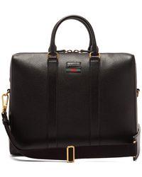 Gucci - Web Stripe Leather Briefcase - Lyst