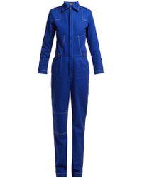 Aries - - Contrast Stitching Denim Boiler Suit - Womens - Navy - Lyst