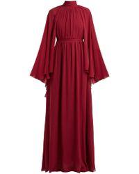 Giambattista Valli - Gathered Cape Silk Georgette Gown - Lyst