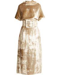 Maison Margiela - Belted High-neck Velvet Dress - Lyst