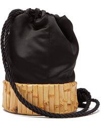 Glorinha Paranagua - Saigon Satin And Bamboo Bucket Bag - Lyst