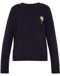 The Elder Statesman Palm Tree Intarsia Cashmere Sweater
