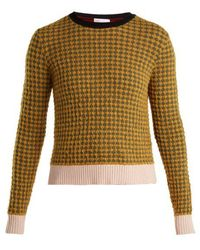 393e6ac3fe5 Red Valentino Striped Cable Wool Knit Peplum Sweater in Natural - Lyst