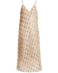 Raey - V-neck Tinsel Midi Slip Dress - Lyst