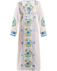 Juliet Dunn - Floral-embroidered Cotton Kaftan - Lyst