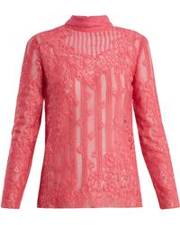 Valentino - High-neck Chantilly-lace Blouse - Lyst