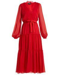 Giambattista Valli - V-neck Lace-trimmed Silk-georgette Dress - Lyst