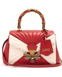 c5623784021 Gucci - Queen Margaret Bamboo-handle Quilted-leather Tote - Lyst