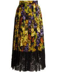 Dolce & Gabbana - Grape Print Silk Blend Skirt - Lyst