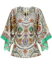 Etro - Chiquitisi Floral-print Silk Crepe De Chine Top - Lyst