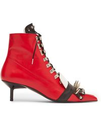 Marques'Almeida - Red Spiked Ankle Boots - Lyst