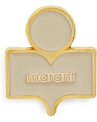 b044dc05d Isabel Marant - Logo Embellished Gold Tone Brass Brooch - Lyst