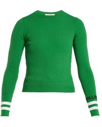 Valentino - Crew-neck Ribbed-knit Sweater - Lyst