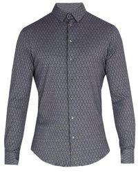 Giorgio Armani - Single Cuff Diamond Print Cotton Shirt - Lyst