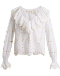 See By Chloé - Geometric Floral-embroidered Cotton Top - Lyst