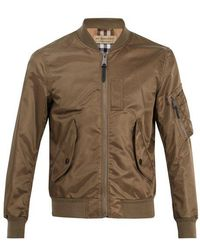 Burberry - Check-pattern Lined Bomber Jacket - Lyst