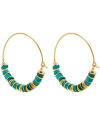 Elise Tsikis - Ellas Turquoise Beaded Gold Plated Hoop Earrings - Lyst