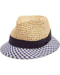Federica Moretti - Dia Gingham Brim Straw Hat - Lyst