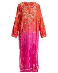Juliet Dunn - Floral-embroidered Ombré Silk Kaftan - Lyst