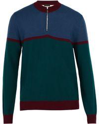 Prada - Half Zip Striped Wool Jumper - Lyst