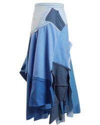 Loewe - Patchwork Asymmetrical-hem Skirt - Lyst