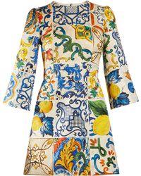 Dolce & Gabbana - Majolica Print Brocade Dress - Lyst