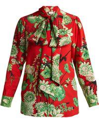 Gucci - Botanic Print Silk Blouse - Lyst