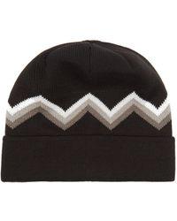 Perfect Moment - Zigzag Intarsia Wool Blend Beanie Hat - Lyst