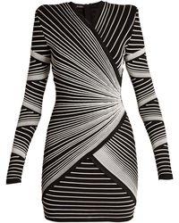 c96fd6178db Balmain - Structured Shoulder Stitched Stripe Mini Dress - Lyst