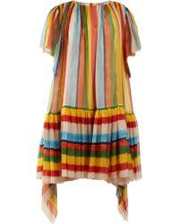 Dolce & Gabbana - Striped Boat Neck Chiffon Mini Dress - Lyst