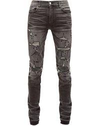 Amiri Thrasher Distressed Slim Leg Jeans - Gray