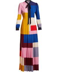 Mary Katrantzou - Duritz Colour Block Crepe De Chine Dress - Lyst