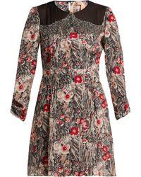 N°21 Floral Print Embellished Silk Mini Dress - Red