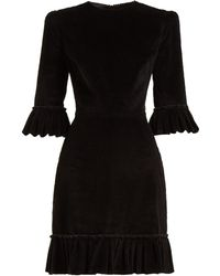 The Vampire's Wife Festival Ruffle Trimmed Cotton Corduroy Dress