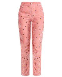 Jupe by Jackie - Floral-embroidered Slim-leg Silk-velvet Trousers - Lyst