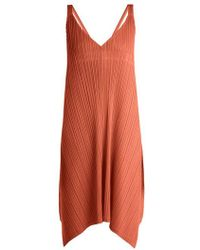 Pleats Please Issey Miyake - - Pleated V Neck Dress - Womens - Tan - Lyst