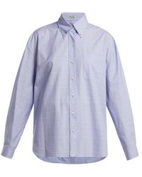 Miu Miu - Button Down Collar Checked Cotton Shirt - Lyst