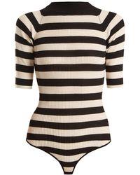 Khaite - Constance Striped Ribbed-knit Wool-blend Bodysuit - Lyst