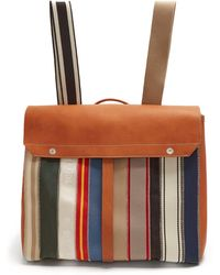 Maison Margiela | Striped Textile And Leather Backpack | Lyst